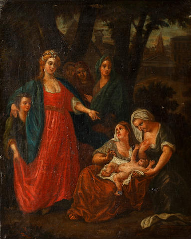 Follower of Gerard Hoet (Bommel 1648-1733 The Hague) The finding of Moses