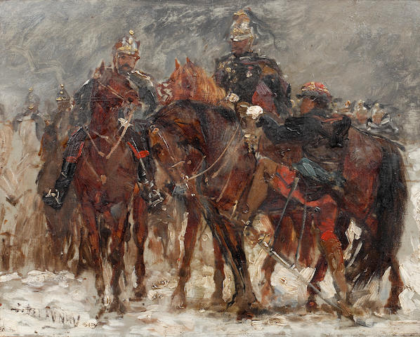 Jules (Duval) Delaunay (French, born circa 1815-1906) Sketch for a cavalry scene