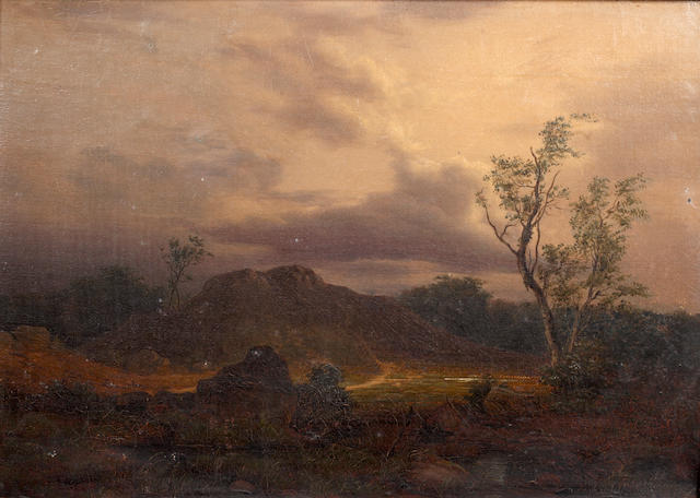French School (19th Century) A rocky landscape