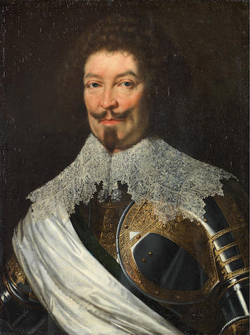 Studio of Justus Sustermans (Antwerp 1597-1681 Florence) Portrait of a gentleman, possibly Carlo Di Lorena, bust-length,  in armour and a white lace collar
