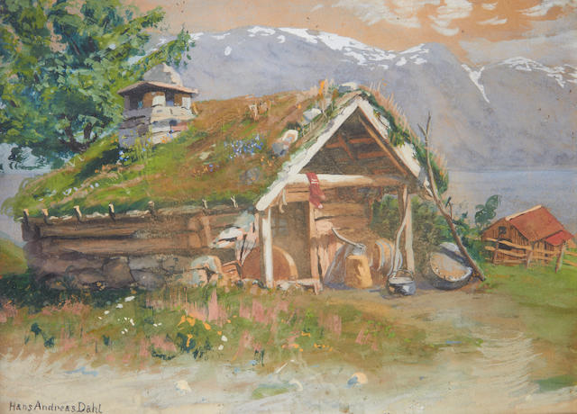 Hans Andreas Dahl (Norwegian, 1881-1919) Norwegian homestead