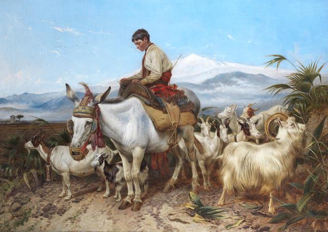 Richard Ansdell, RA (British, 1815-1885) The Vega of Granada, returning from pastures