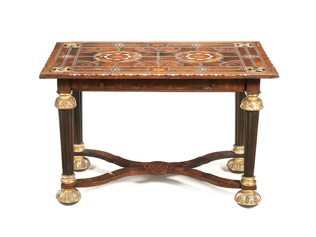 A late 17th century ivory, bone and green-stained-horn inlaid walnut, rosewood and parquetry centre table possibly Maltese