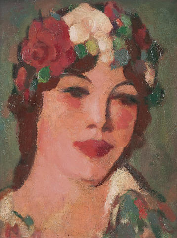 John Duncan Fergusson, RBA (British, 1874-1961) Head with White Rose 24.25 x 19 cm. (9 9/16 x 7 1/2in.)