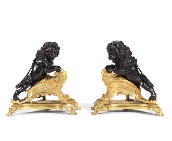A pair of late 19th century French gilt and patinated bronze chenets