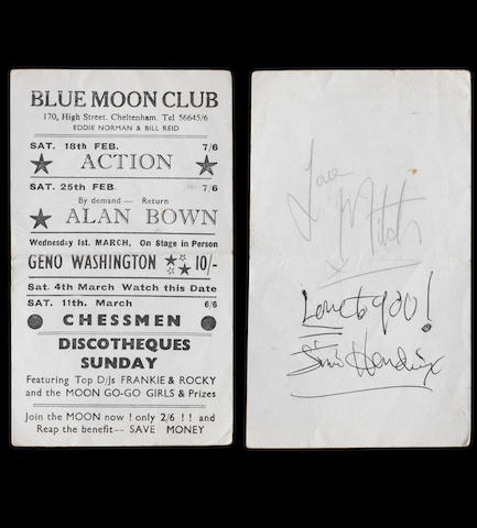 A Blue Moon Club, Cheltenham, handbill signed by Jimi Hendrix and Mitch Mitchell, 1967,