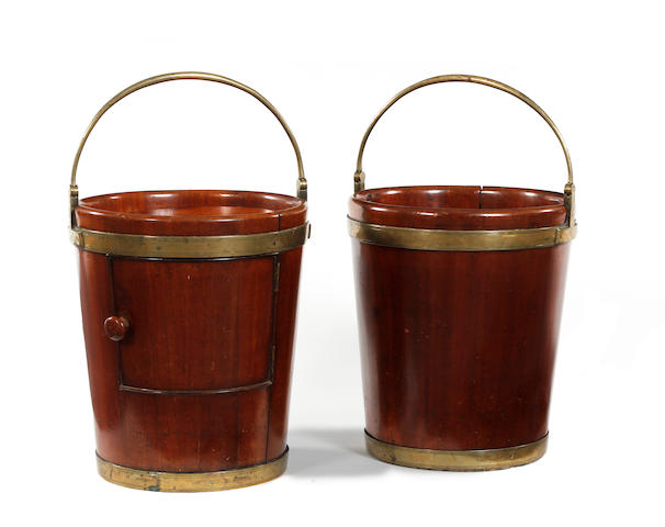 A pair of early 19th century mahogany and brass-bound buckets Possibly Irish