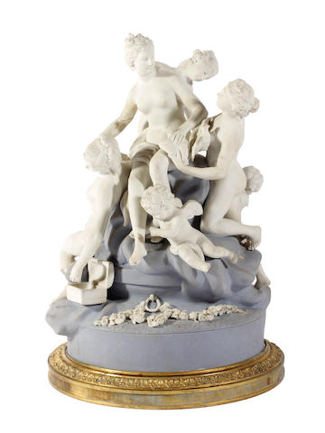 A French biscuit porcelain figure group, late 19th Century,