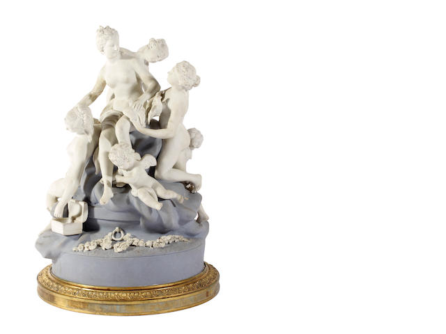 A French biscuit porcelain figure group, late 19th century