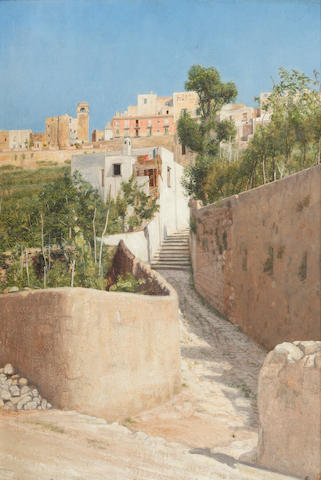 Edward George Handel Lucas (British, 1861-1936) The stony steps to Capri