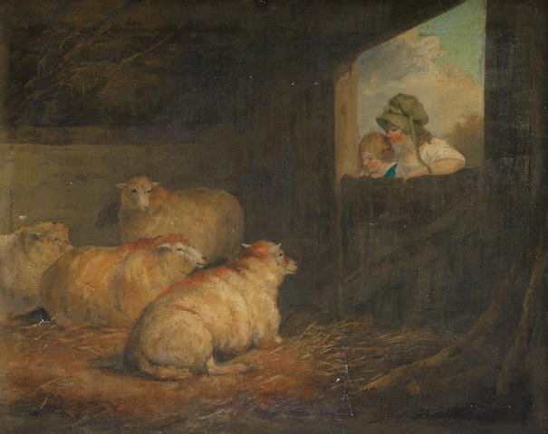 After Moreland, figures and sheep, oil