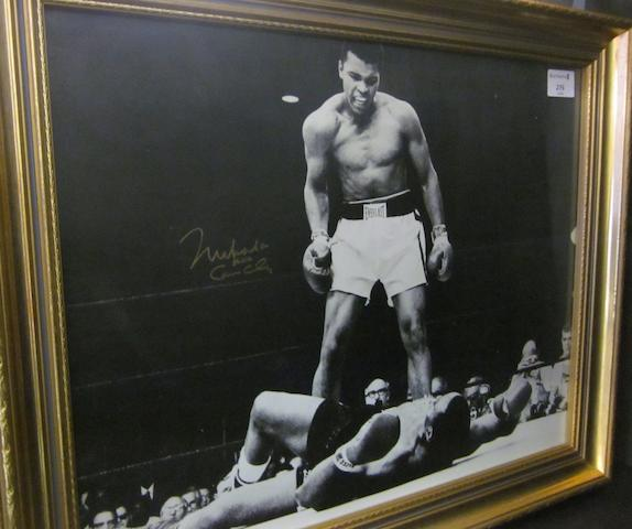 Muhammad Ali/Liston picture hand signed 'Muhammad Ali a.k.a Cassius Clay'