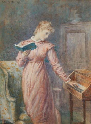 Arthur Foord Hughes (British, 1856-1914) A lady reading while playing the spinet