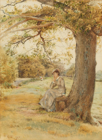 George Goodwin Kilburne, RI, RBA (British, 1839-1924) Lady seated beneath a tree by the river bank