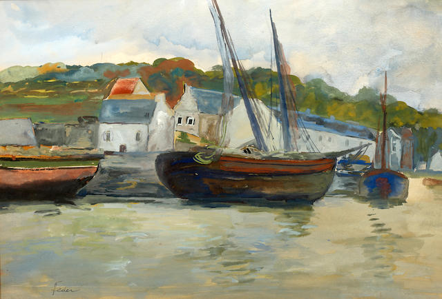 Aizik (Adolf) Feder (Russian, 1885-1943) Boats in a harbour