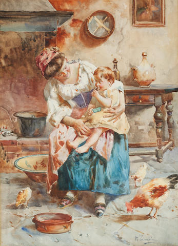 Italian School, 19th Century Mother and child with chickens in an interior