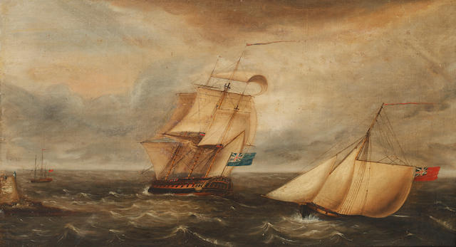 19th Century English School A warship and other vessels on a choppy sea