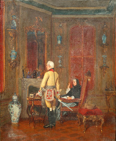 Fritz (Alexander Friedrich) Werner (German, 1827-1908) An officer and a woman in an elegant interior