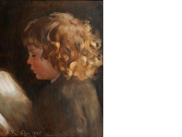 Arthur Kampf (German, 1865-1950) Portrait study of a child