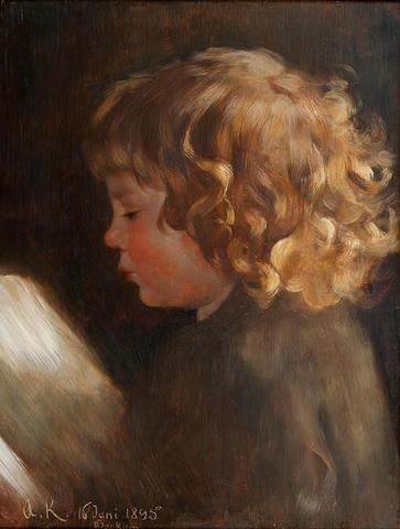 Arthur Kampf (German, 1865-1950) Portrait study of a child