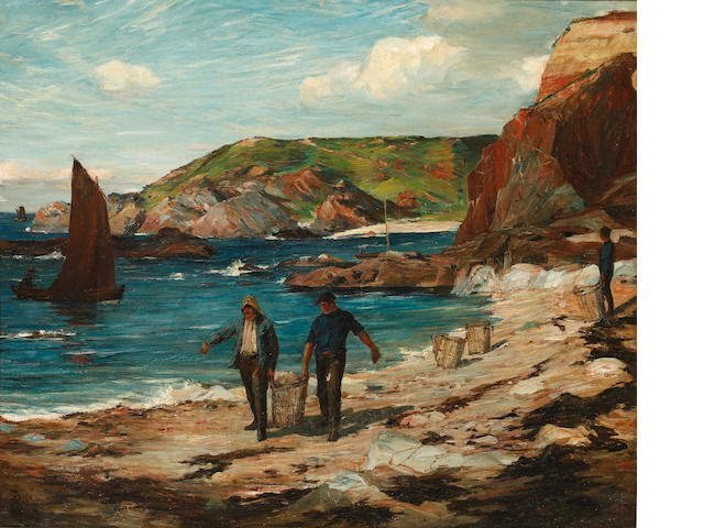 James Alfred Aitken (Scottish, 1846-1897) A Scottish cove, with fishermen on the beach