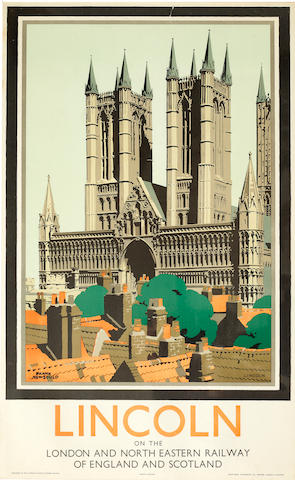 Frank Newbould (British, 1887-1951) Lincoln, on the London and North Eastern Railway Two travel posters, and another similar of York by Fred Taylor colour lithographic posters 101 x 63cm. (3)