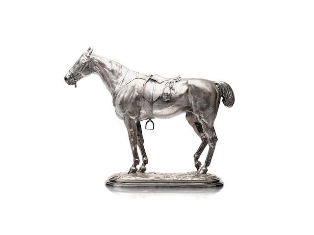 John Willis Good (British, 1845-1879)A silvered bronze modelled as a (hunting?) horse