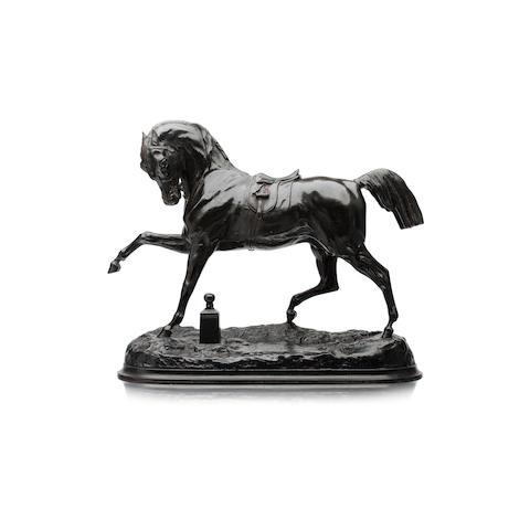 A bronze figure of a horse