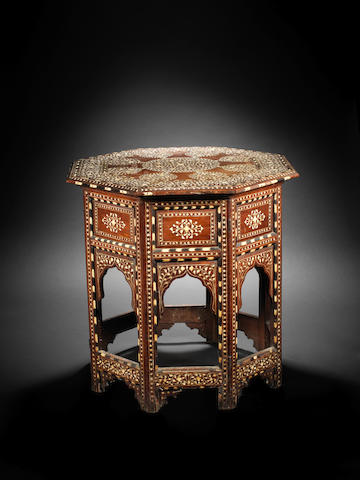 A Hoshiapur bone and ebony-inlaid wood Occasional Table India, 19th Century(2)