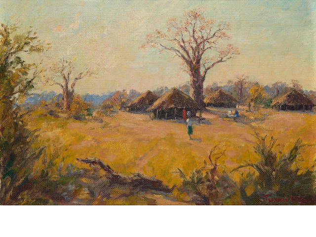 Terence John McCaw (South African, 1913-1978) View of an African village