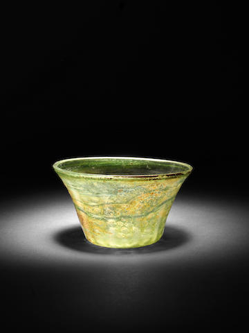 A green glass Bowl Egypt or Syria, 16th-17th Century