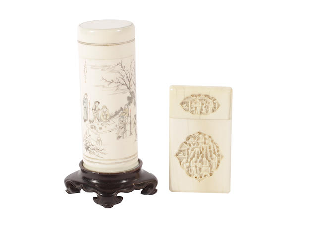 A Cantonese ivory card case and a cylindrical ivory box and cover
