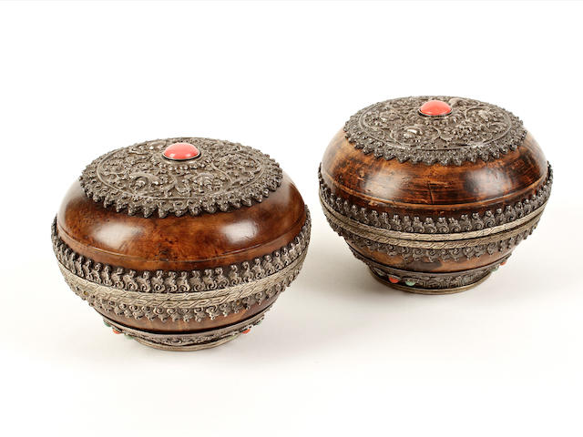 A pair of Tibetan circular boxes and covers