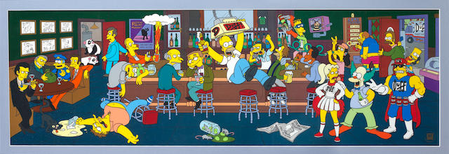 The Simpsons: A large size cell believed to be production used, Moe's tavern