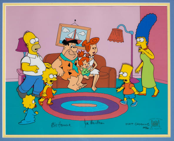 The Simpsons: A Simpson Family and Flintstones limited edition cell, signed by Matt Groening, Hanna and Barbera