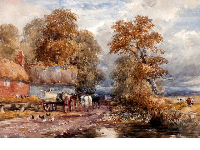 David Cox (British, 1783-1859) Horses and wagon in a farmyard 19x23cm