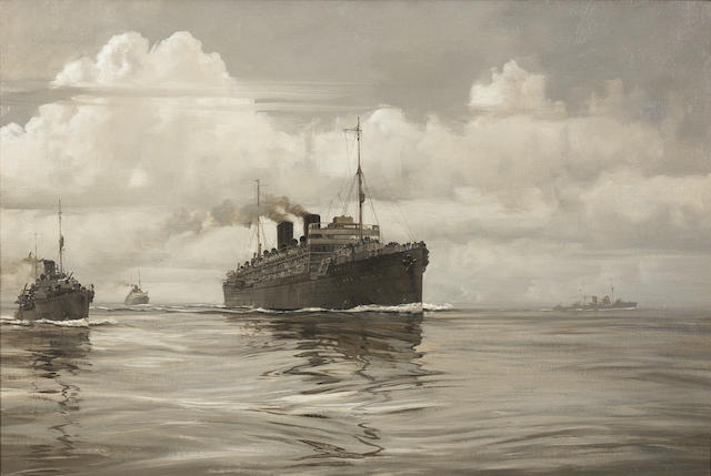 Montague Dawson (British, 1890-1973) A Second World War troopship under destroyer escort