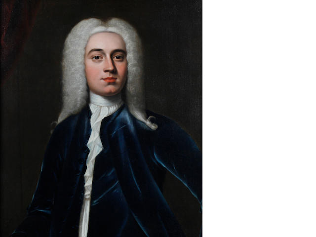 Circle of Thomas Hudson (Devon 1701-1779 Twickenham) A portrait of a gentleman wearing blue jacket, white chemise, necktie and grey wig