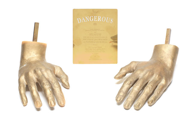Casts of Michael Jackson's hands and invitation