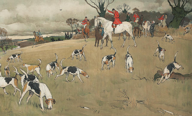 After Cecil Charles Windsor Aldin, RBA The Fallowfield Hunt: Breakfast at the Three Pigeons, Breaking Cover, A Check, Full Cry, The Death, The Hunt Supper each 38 x 61cm (14 15/16 x 24in) (6)