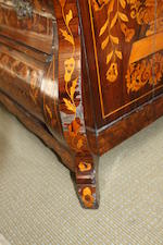 A Dutch 19th century walnut and marquetry inlaid display cabinet