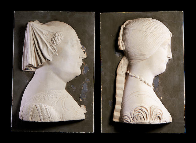 After Gian Cristoforo Romano, Italian (1491-1497) A pair of 19th century plaster portrait reliefs