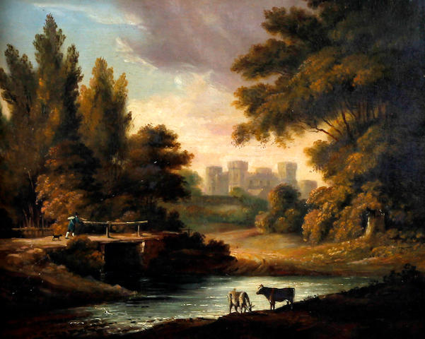 British School, (late 18th century) Riverside scene with cattle, bridge and castle