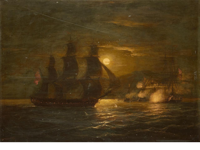 Thomas Luny (British, 1759-1837) A naval engagement by moonlight