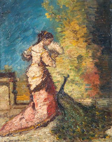 Adolphe Joseph Thomas Monticelli (French, 1824-1886) Femme au Paon