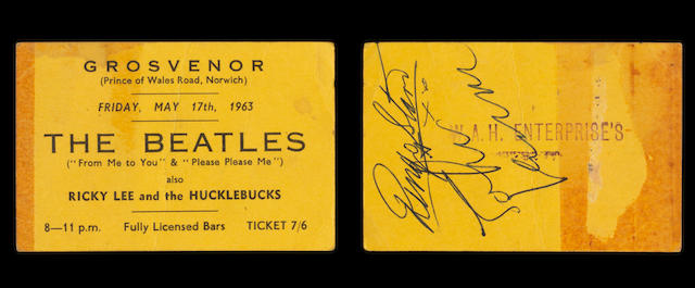 A ticket dated 17th May 1963 for The Beatles concert at The Grosvenor, Norwich, signed by John Lennon & Ringo Starr