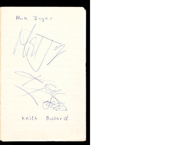 Rolling Stones: A signed memo book