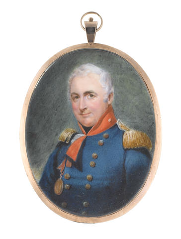 William Egley (British, 1798-1870) Lieutenant Colonel William Minto (1756-1827), wearing royal blue coat with gold buttons and red standing collar, white frilled chemise and black stock, gold epaulettes, bronze medal suspended from a red ribbon on his right breast