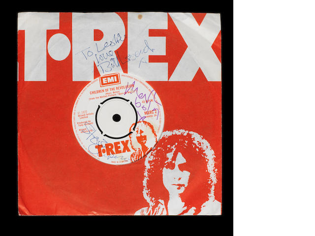 T-Rex signed single Children Of The Revolution and paper sleeve