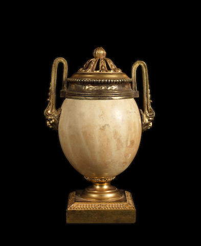 A French 18th century Louis XVI ormolu-mounted ostrich egg pot-pourri